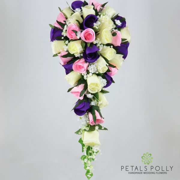 Purple, Baby Pink & Ivory Rose Brides Teardrop Bouquet