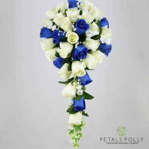 Silk royal blue and ivory rose brides teardrop bouquet