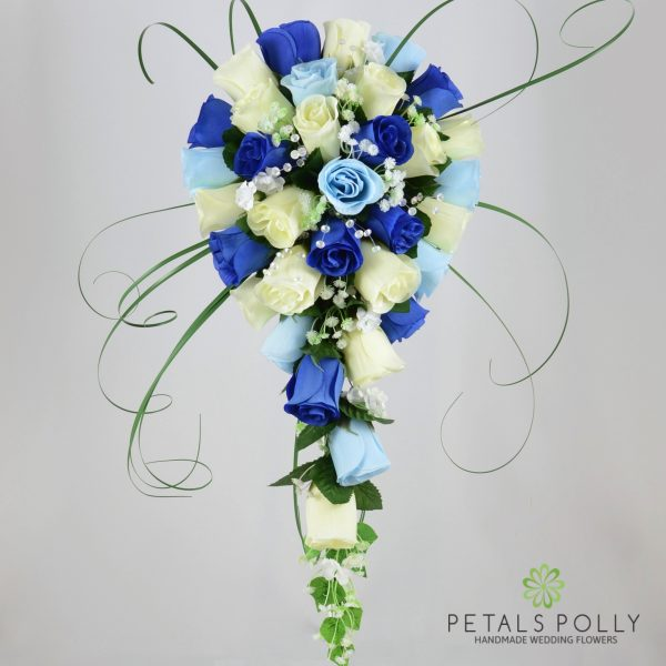 Royal Blue, Baby Blue & Ivory Rose Brides Teardrop Bouquet