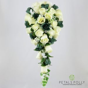 Silk sage green and ivory rose brides teardrop bouquet