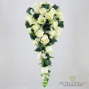 Silk sage green and ivory rose brides teardrop bouquet