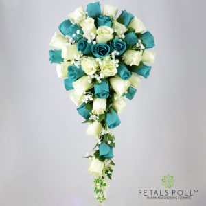 Silk teal and ivory rose brides teardrop bouquet