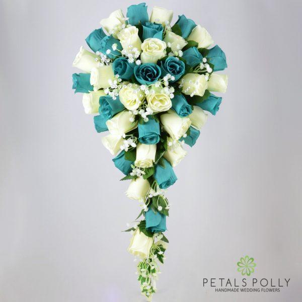 Royal Blue, Baby Blue & Ivory Rose Brides Teardrop Bouquet