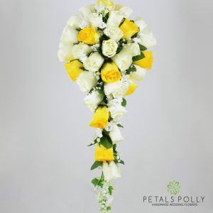 Silk yellow and ivory rose brides teardrop bouquet