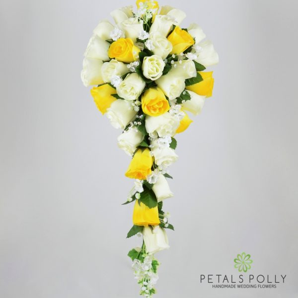 Yellow & Ivory Rose Brides Teardrop Bouquet