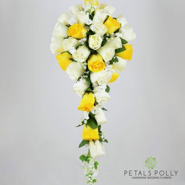 Yellow & Ivory Rose Brides Teardrop Bouquet