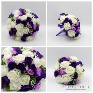 artificial purple lilac and ivory wedding flower package