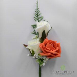 Orange & Ivory Triple Rose Buttonhole / Corsage