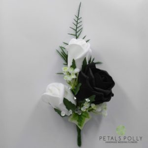 Black & White Triple Foam Rose Buttonhole / Corsage