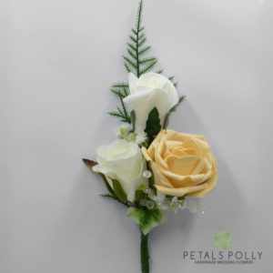 gold triple rose corsage buttonhole