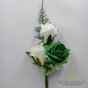 emerald green rose buttonhole corsage