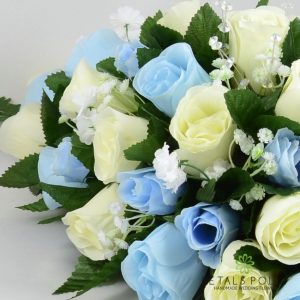 Artificial baby blue and ivory rose top table decoration