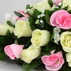 baby pink and ivory silk rose top table decoration arrangement