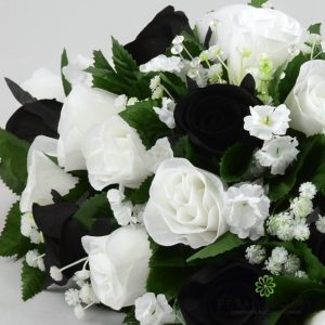 black and white silk rose top table decoration arrangement