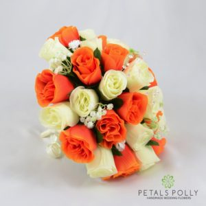 silk orange and ivory rose brides posy bouquet