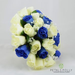 Royal blue and ivory rose silk brides bouquet