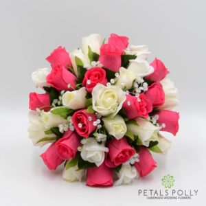 artificial hot pink ivory wedding flower package