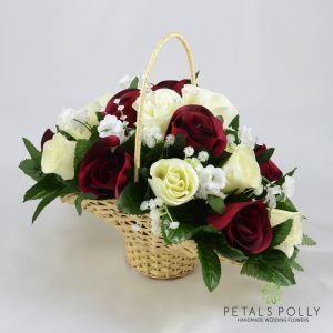 burgundy and ivory artificial flower girl basket