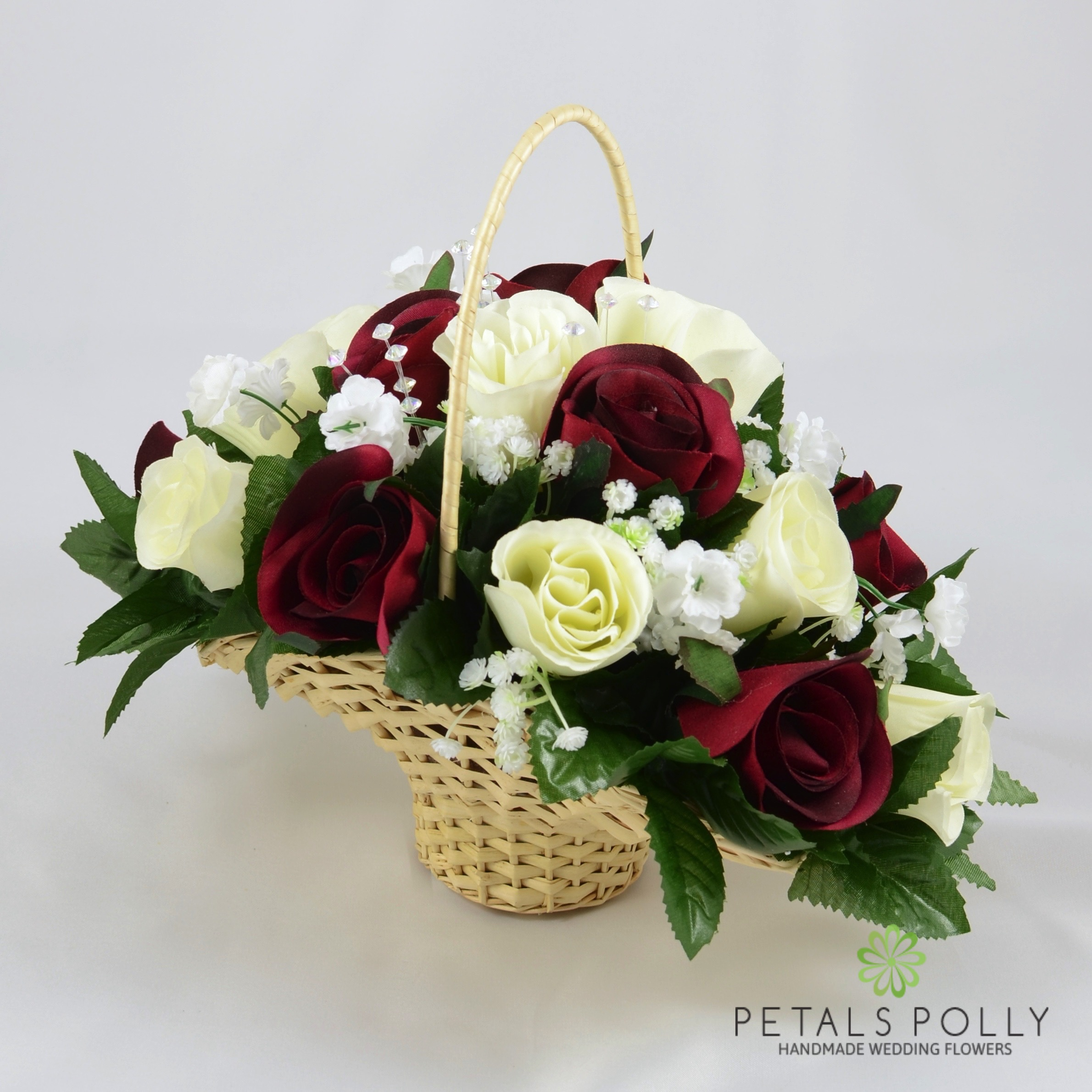 Flower Girl Baskets Ivory Uk : Burgundy ivory rose flower girl basket