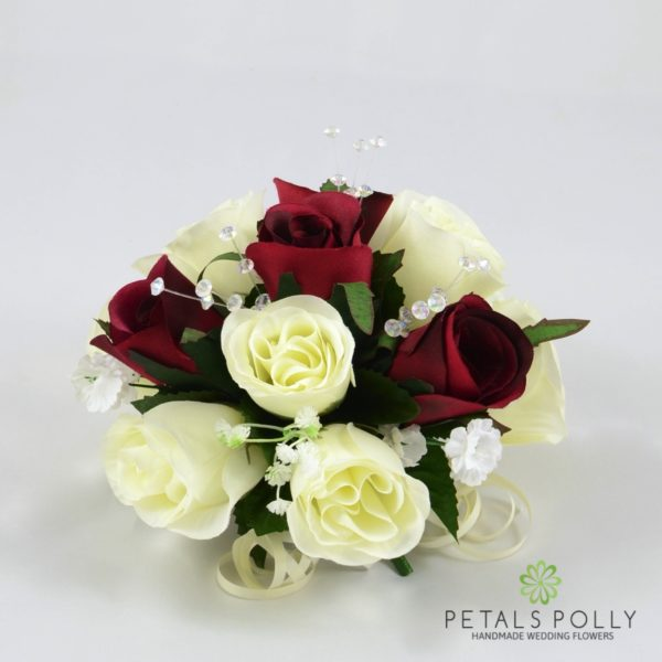 Burgundy & Ivory Rose Cake Topper Decoration