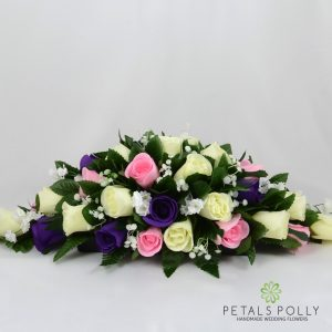 purple baby pink and ivory silk rose top table decoration arrangement