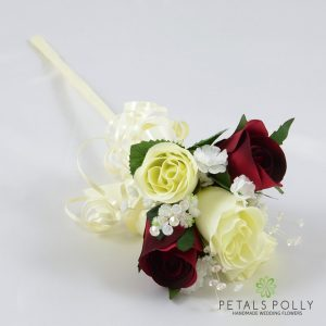 Burgundy and ivory silk rose flower girl wand