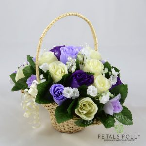 purple lilac ivory artificial flower girl basket