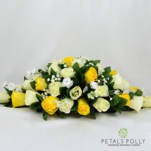Yellow & Ivory Rose Top Table Decoration