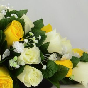 Artificial yellow and ivory rose top table decoration
