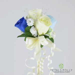 blue and ivory silk rose flower girl wand