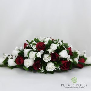 Burgundy and white silk top table decoration