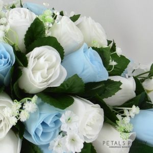 artificial baby blue and white top table decoration