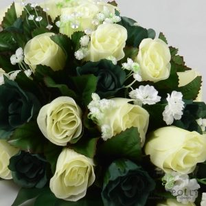 sage green and ivory silk rose top table decoration arrangement