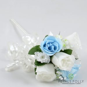 blue and white silk rose flower girl wand