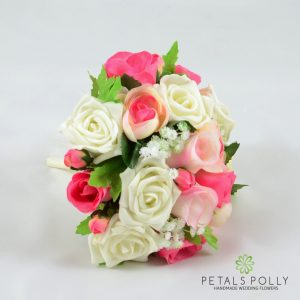 silk pink and ivory rose bridesmaids bouquet