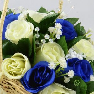 royal blue and ivory artificial flower girl basket