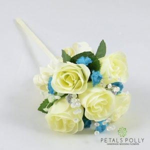 teal and ivory silk rose flower girl wand