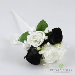 black and white silk rose flower girl wand