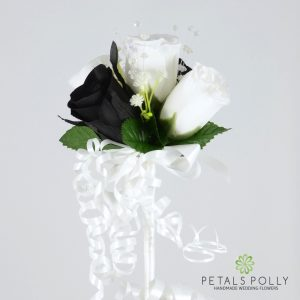 black and white silk rose flower girl wand