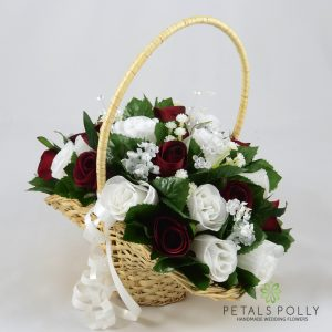 burgundy and white artificial flower girl basket