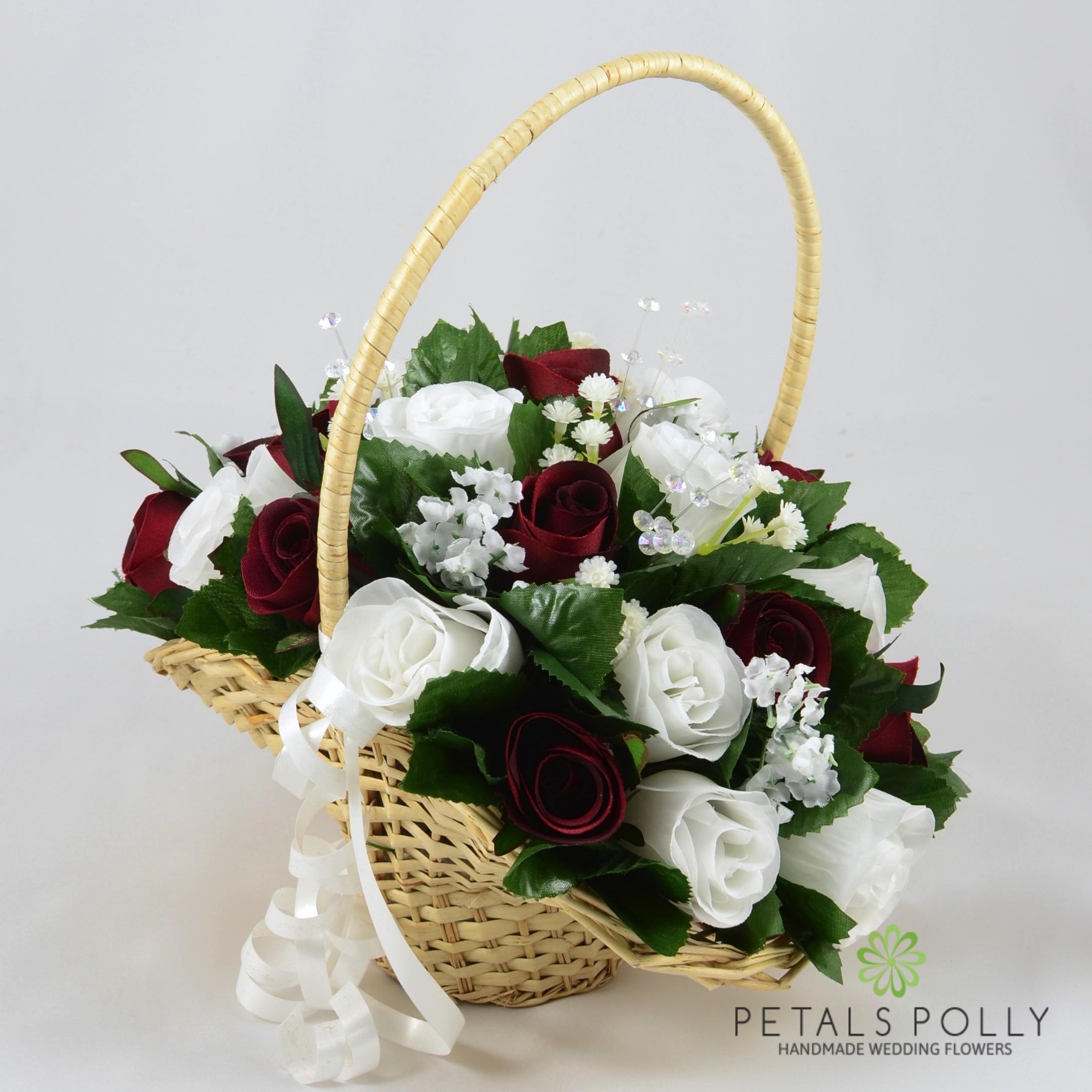 Burgundy & White Rose Flower Girl Basket