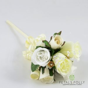 ivory white gold silk rose flower girl wand