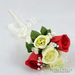 red and ivory silk rose flower girl wand