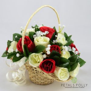 red and ivory artificial flower girl basket