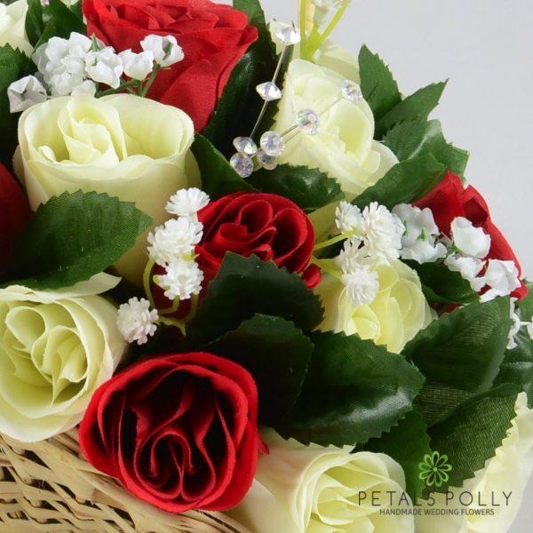 Burgundy & Ivory Rose Flower Girl Basket