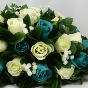 teal and ivory silk rose top table decoration arrangement