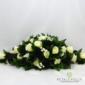 black and ivory silk top table decoration