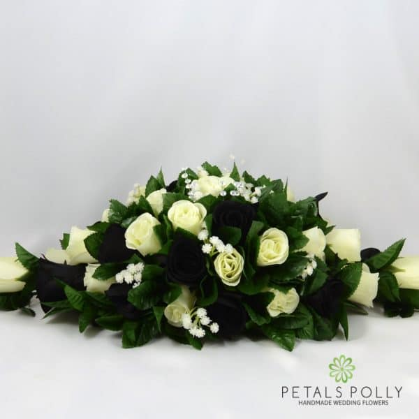 Black & Ivory Rose Top Table Decoration