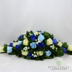 silk royal blue baby blue ivory top table decoration