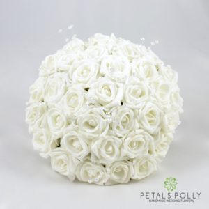 white foam rose brides boquuet